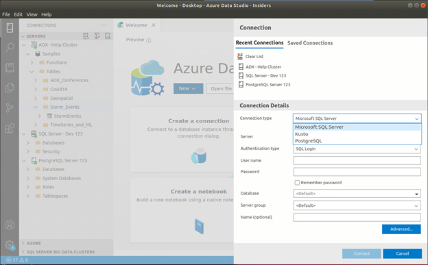Azure Data Explorer connectivity support in Azure Data Studio