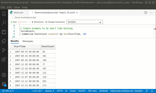Writing KQL query in Azure Data Studio