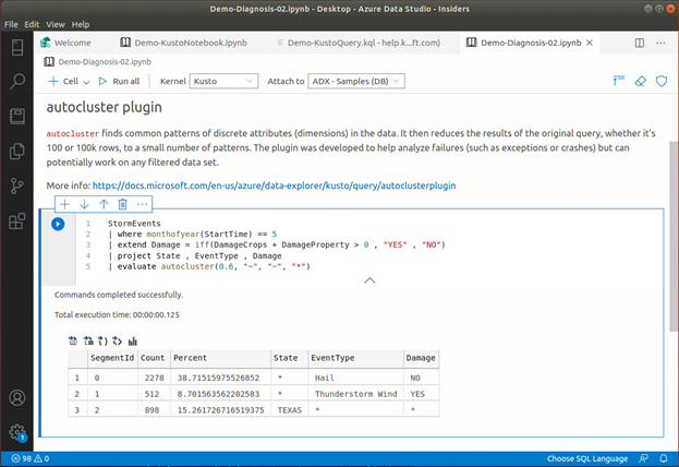 Pattern detection in Storm Events data using autocluster plugin in Kusto notebook in Azure Data Studio