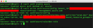Azure services read and write Vault secrets in the usual manner, using vault write and vault read commands