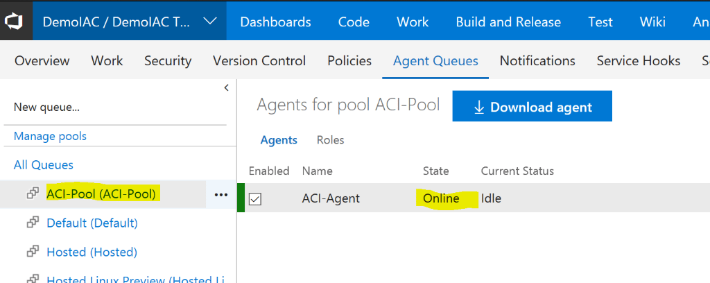 How to create a custom VSTS agent on Azure ACI with Terraform
