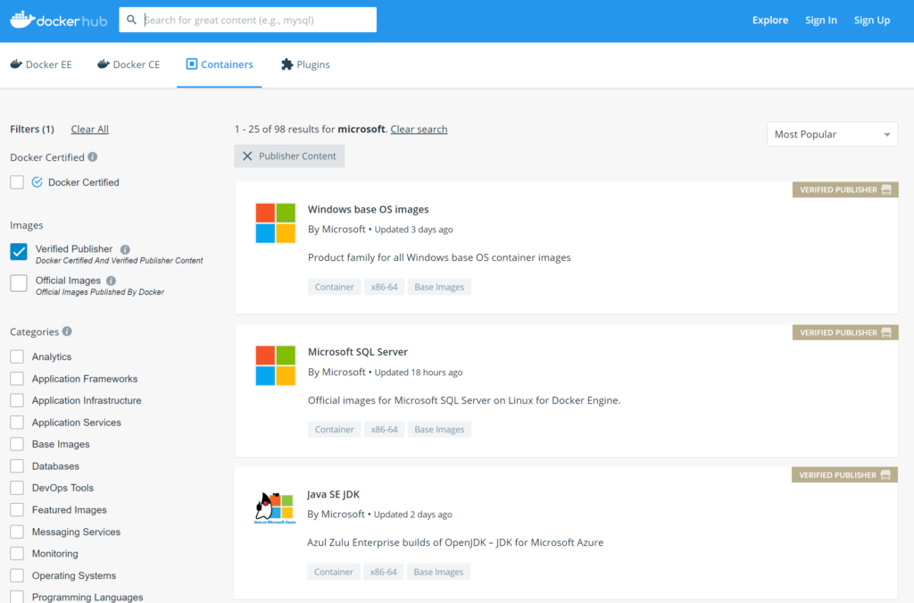 Improved discovery experience for Microsoft containers on