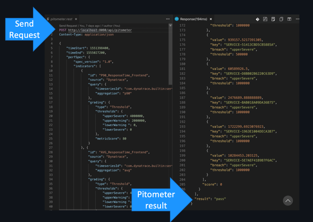 Image of a Pitometer request and response in VS Code