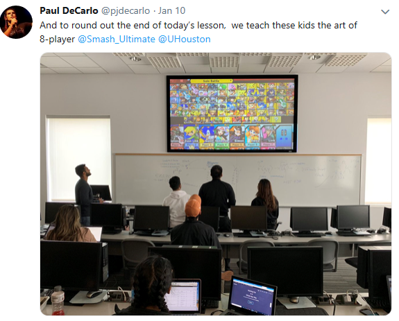 Twitter image of student playing Smash Bros game
