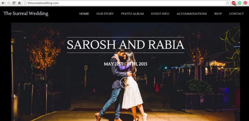 Wedding website created by student