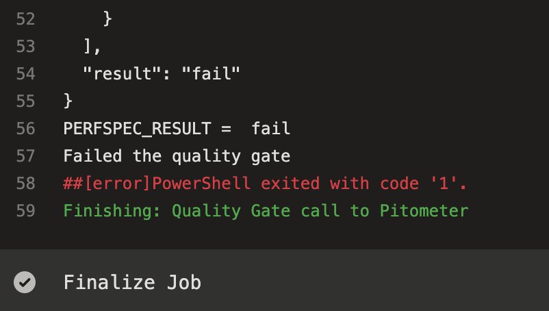 Task details from failing quality gate task