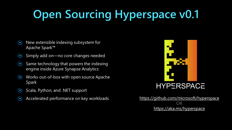 Hyperspace slide with an overview of project features