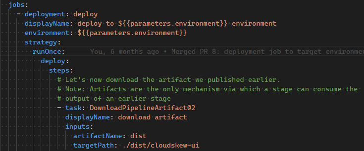 a screen shot of code for azure pipelines deployment jobs