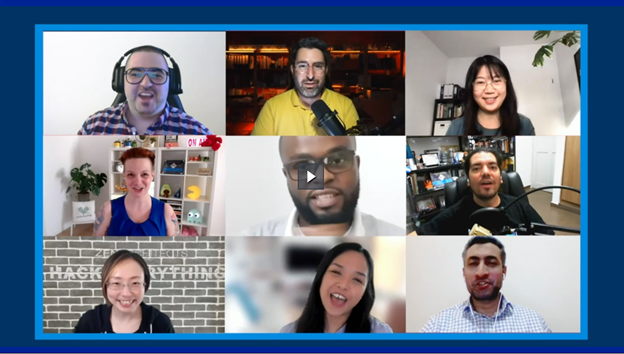 A video thumbnail with nine faces of developers smiling at the camera