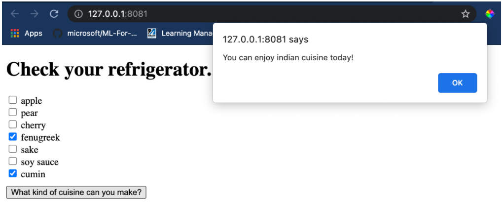 Figure 6: A cuisine recommender web app with ORT Web.