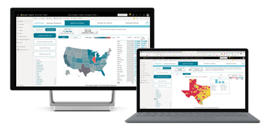 Facility readiness dashboard with COVID-19 metrics at county level in United States