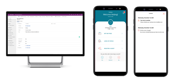 Facility management app showing notification records being created and Employee app with the notification