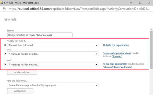 Email exfiltration controls configuration depicted in Office 365 admin center.