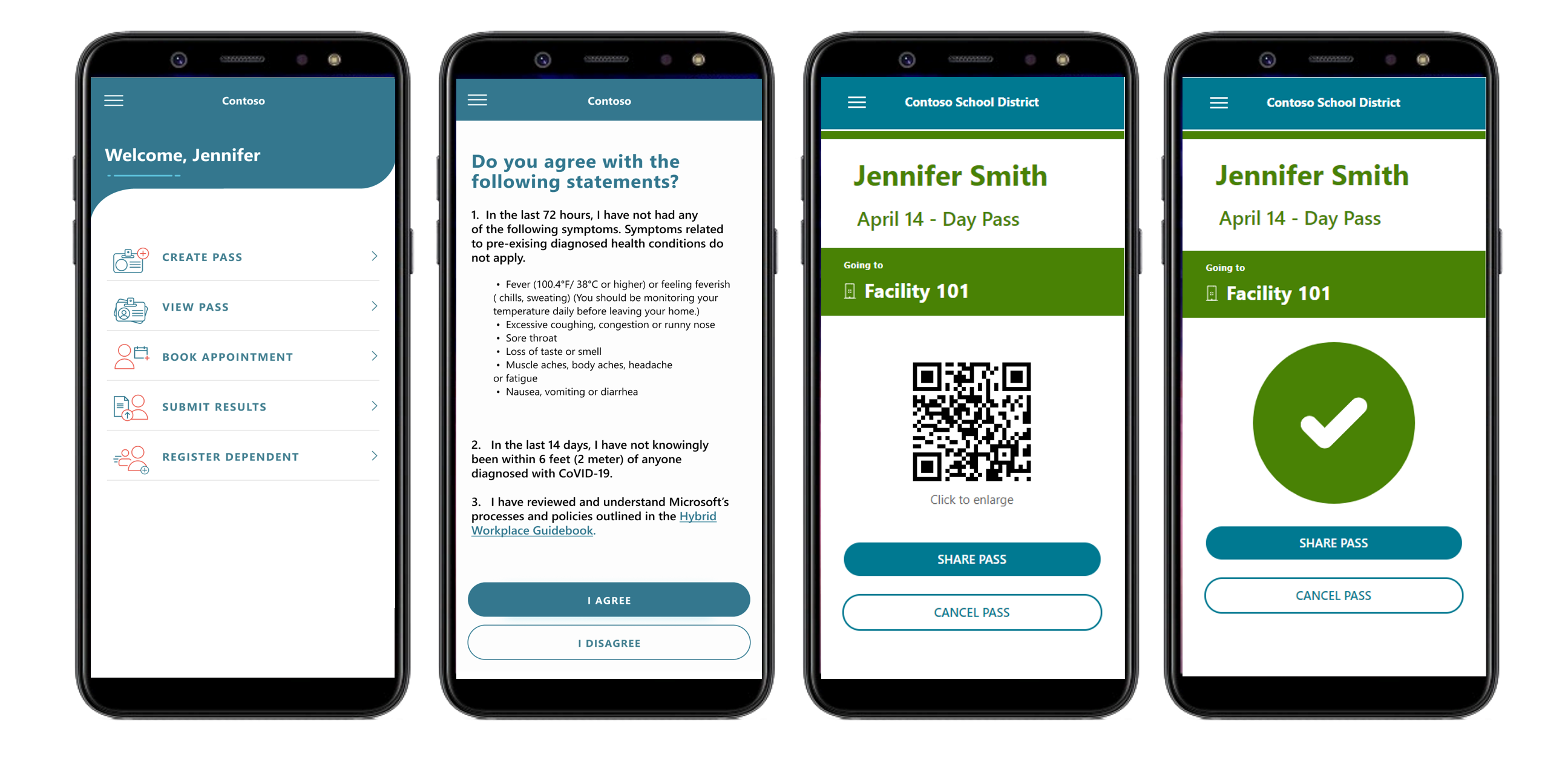 """Using the faculty and student portal, students, teachers, and staff can attest to being symptom-free, and receive a personalized """"day pass"""" that can be used for school entry. Guardians can attest on behalf of their dependents."""