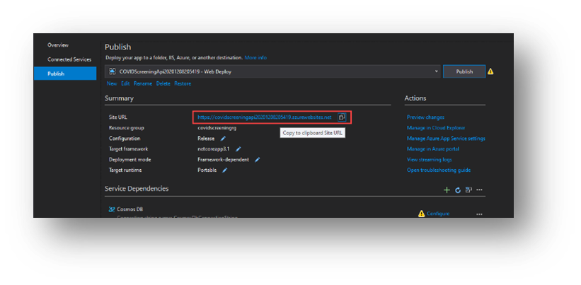 Publishing the API and Registering the API in API Management from Visual Studio