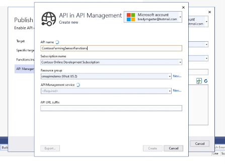 Publishing Azure Functions and registering in API Management from within Visual Studio
