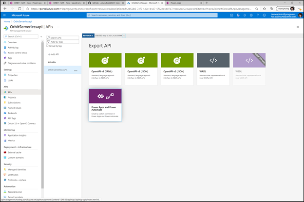 Figure 2. Easily export your API from Azure API Management to Power Apps or Power Automate as a custom API Management connector