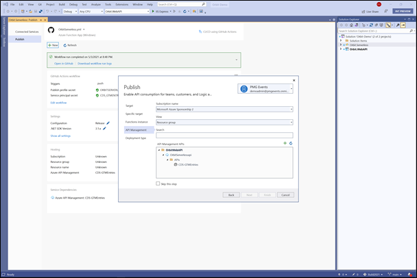 Figure 1. Easily publish your project to Azure from Visual Studio