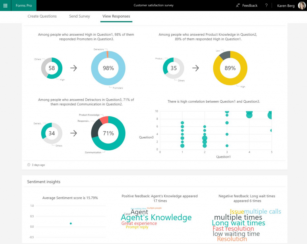 Quickly analyze survey results with intelligent insights with Microsoft Forms Pro.