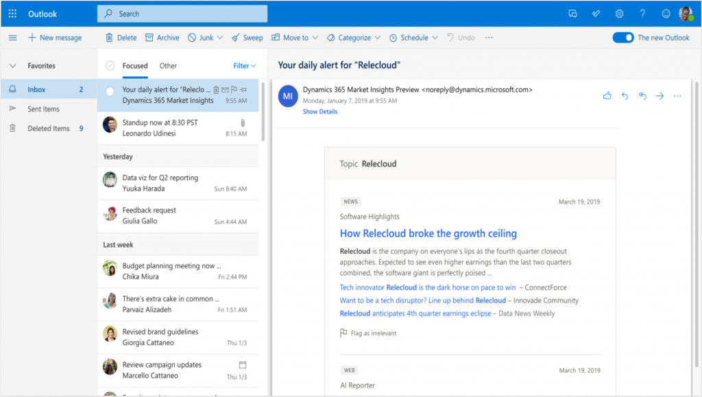 Microsoft Dynamics 365 Market Insights alert email.