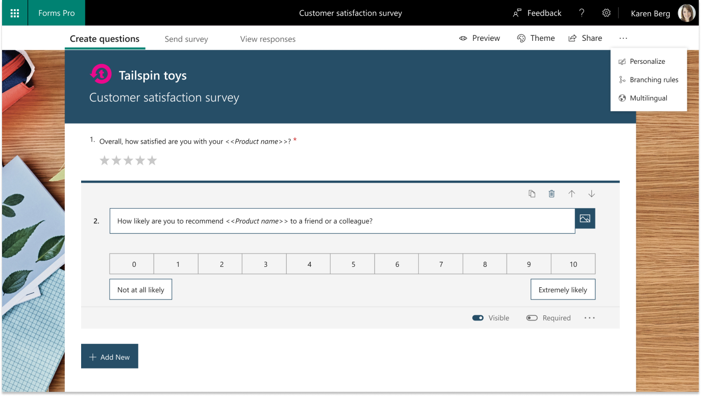 Create branded surveys with customized questions