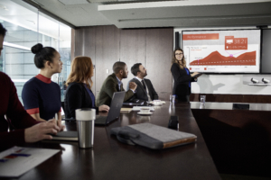 Decorative stock photo of executives in a meeting
