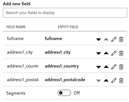 visual of arrows for reordering fields in the Dynamics Customer Card
