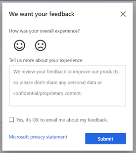 an image of the dialog box used for providing feedback to the Dynamics 365 Customer Insights team
