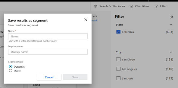 an image showing the dialog box for saving the results of a customer filter as a segment