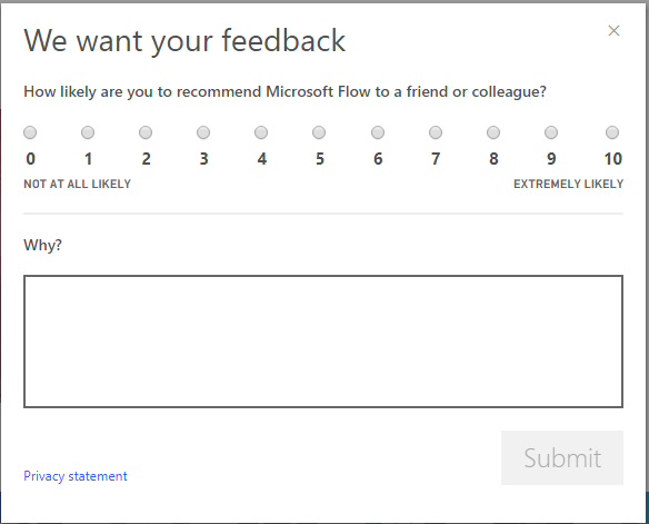 a dialog box asking for a rating and comments