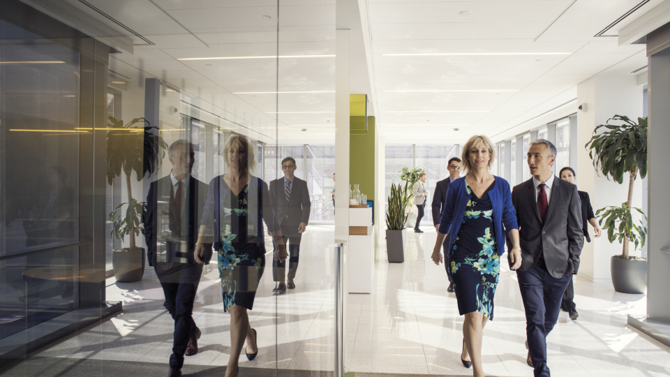 A group of people walking on in the office.
