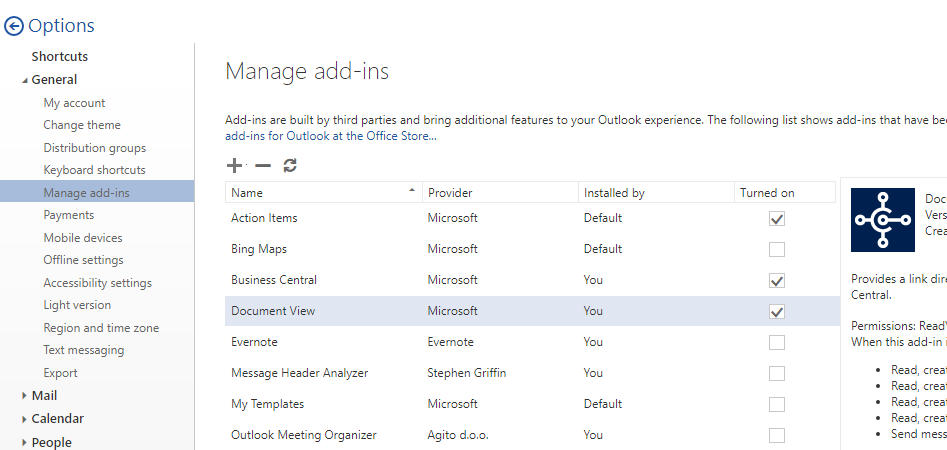 Managing Outlook add-ins