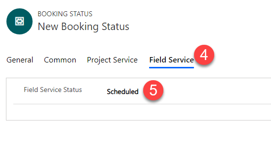 "Navigating to Field Service tab and setting the field service status to ""Scheduled"""