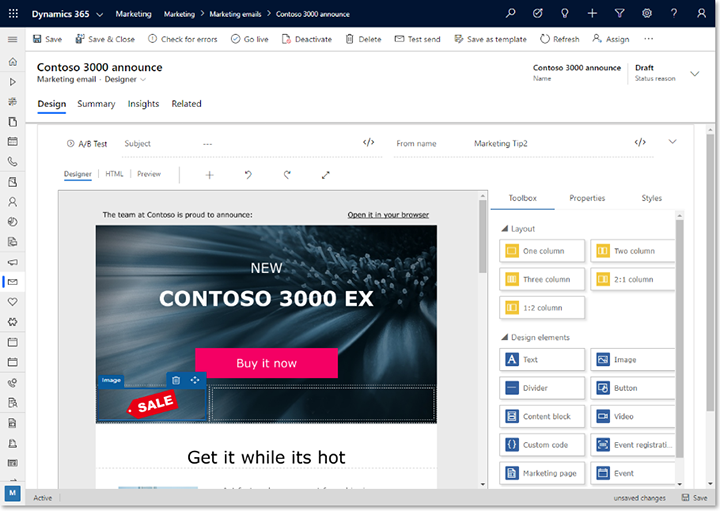 Layout elements in the email designer