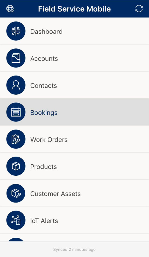 Pressing the bookings button on the mobile application homepage