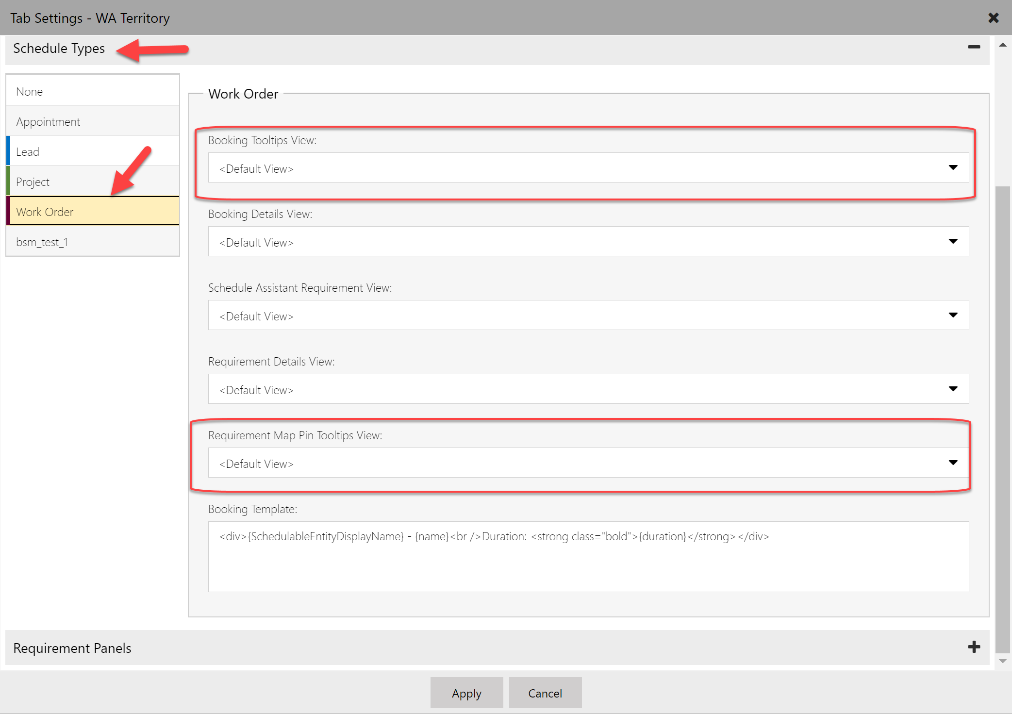 Schedule board settings in the schedule types section allowing you to change the view driving the tooltips for bookings and requirements.