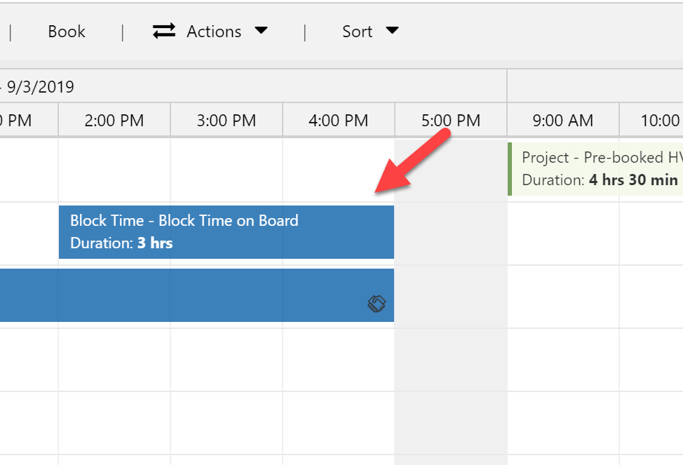 Booking showing on the board created for blocking time