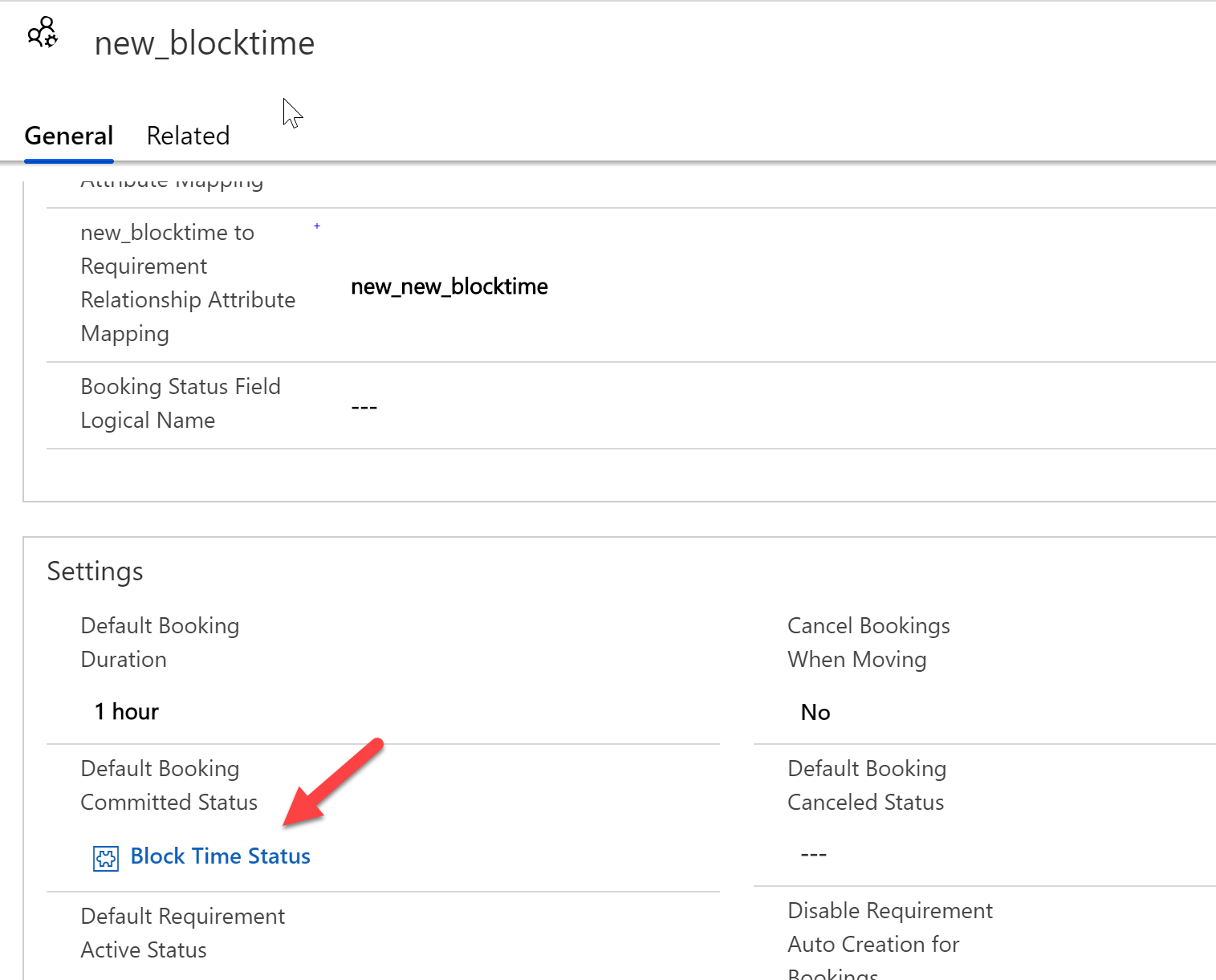 "Changing the default booking status on the booking setup metadata record to the ""block time status"""