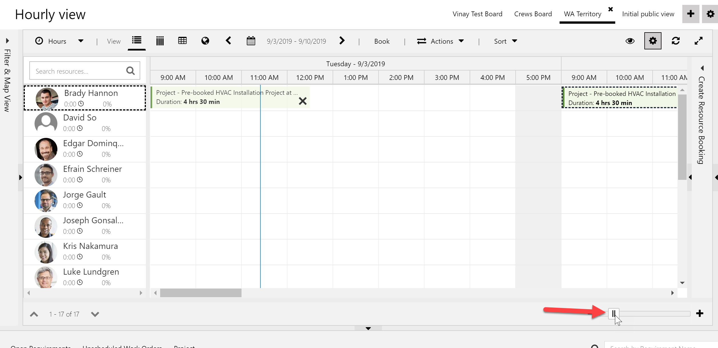 Screenshot of pixel slider on bottom schedule board toolbar to see more text on bookings