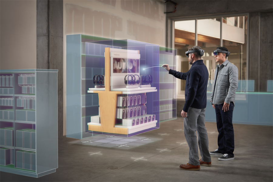 Two men using Microsoft Dynamics 365 Layout in a retail space. Contains hologram scenario.