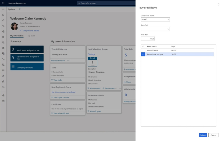 Team member's dashboard view within Dynamics 365 Human Resources of buying and selling leave.
