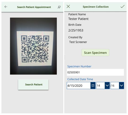Purpose-built testing app provides a quick and simple way of locating a patient through the automated QR code