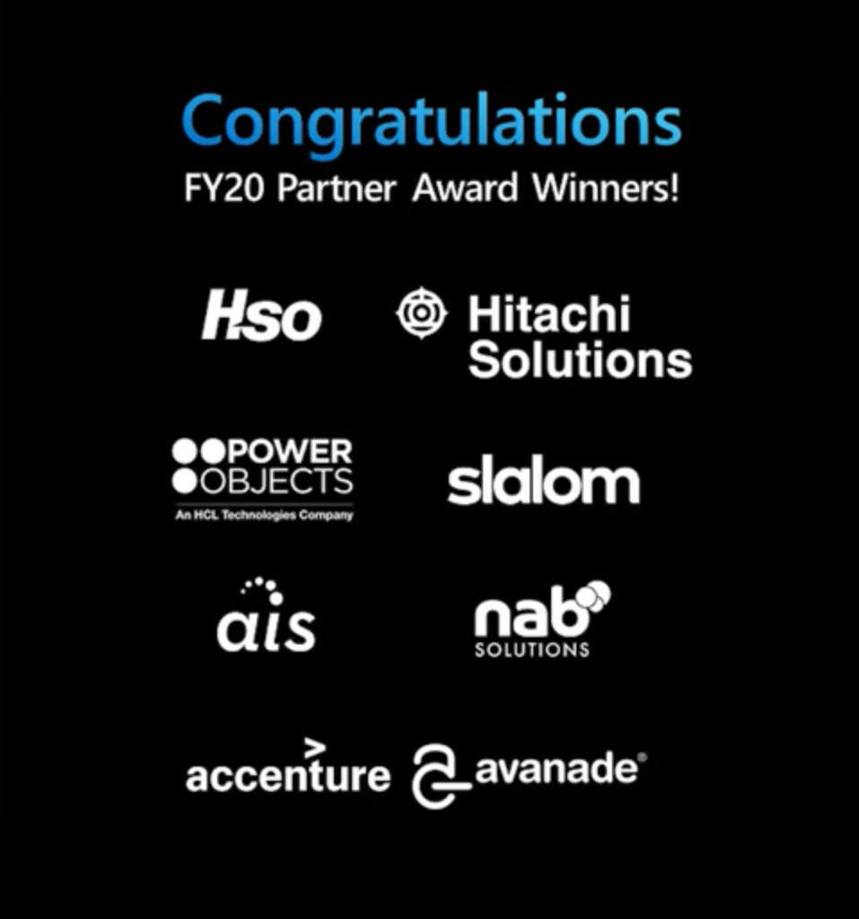 Power Platform and Dynamics 365 Partners of the year are HSO, Hitachi Solutions, Power Objects, Slalom, AIS, NAB Solutions, Accenture, and Avanade.