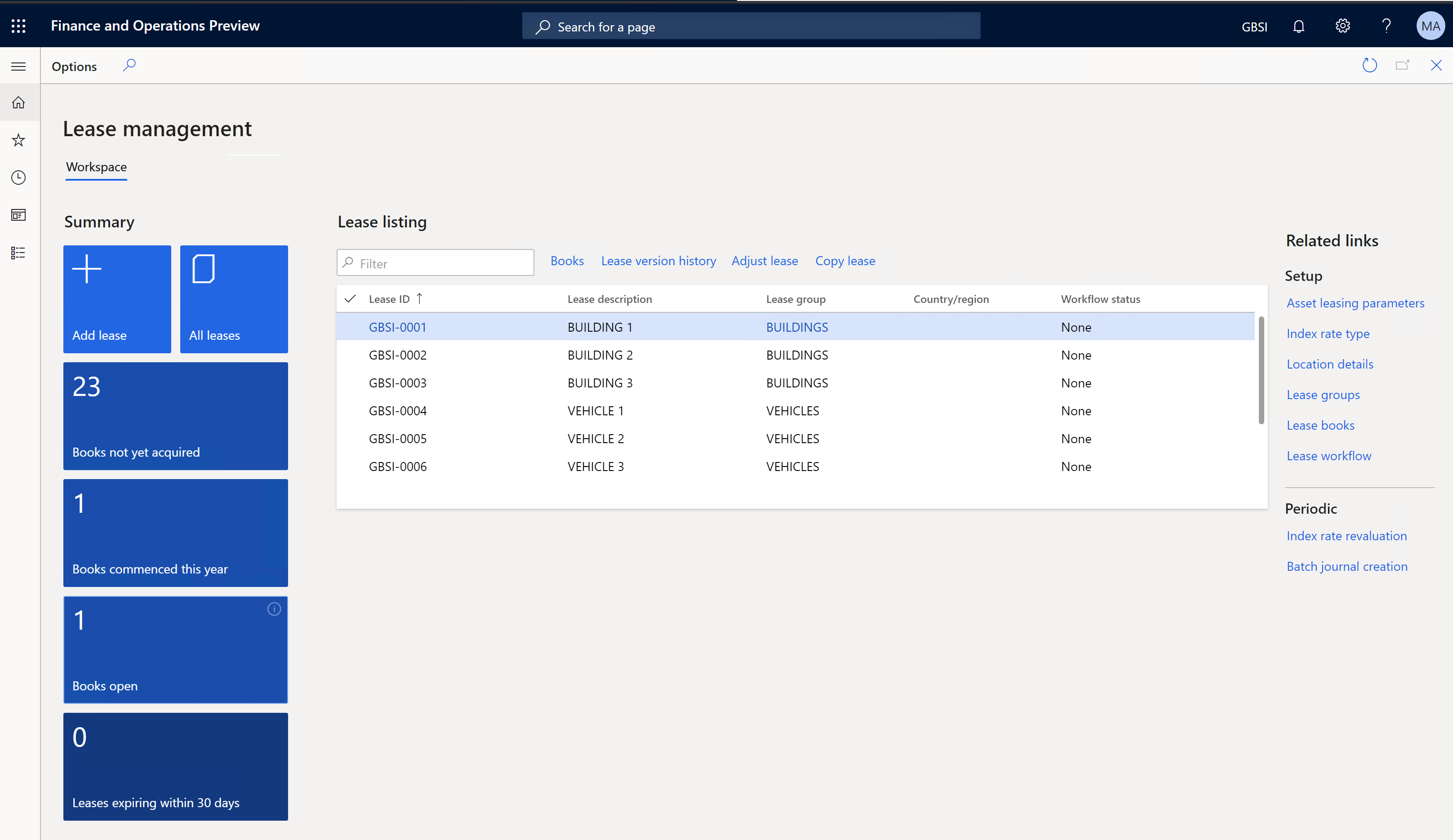 Screenshot of Finance and Operations collections process automations