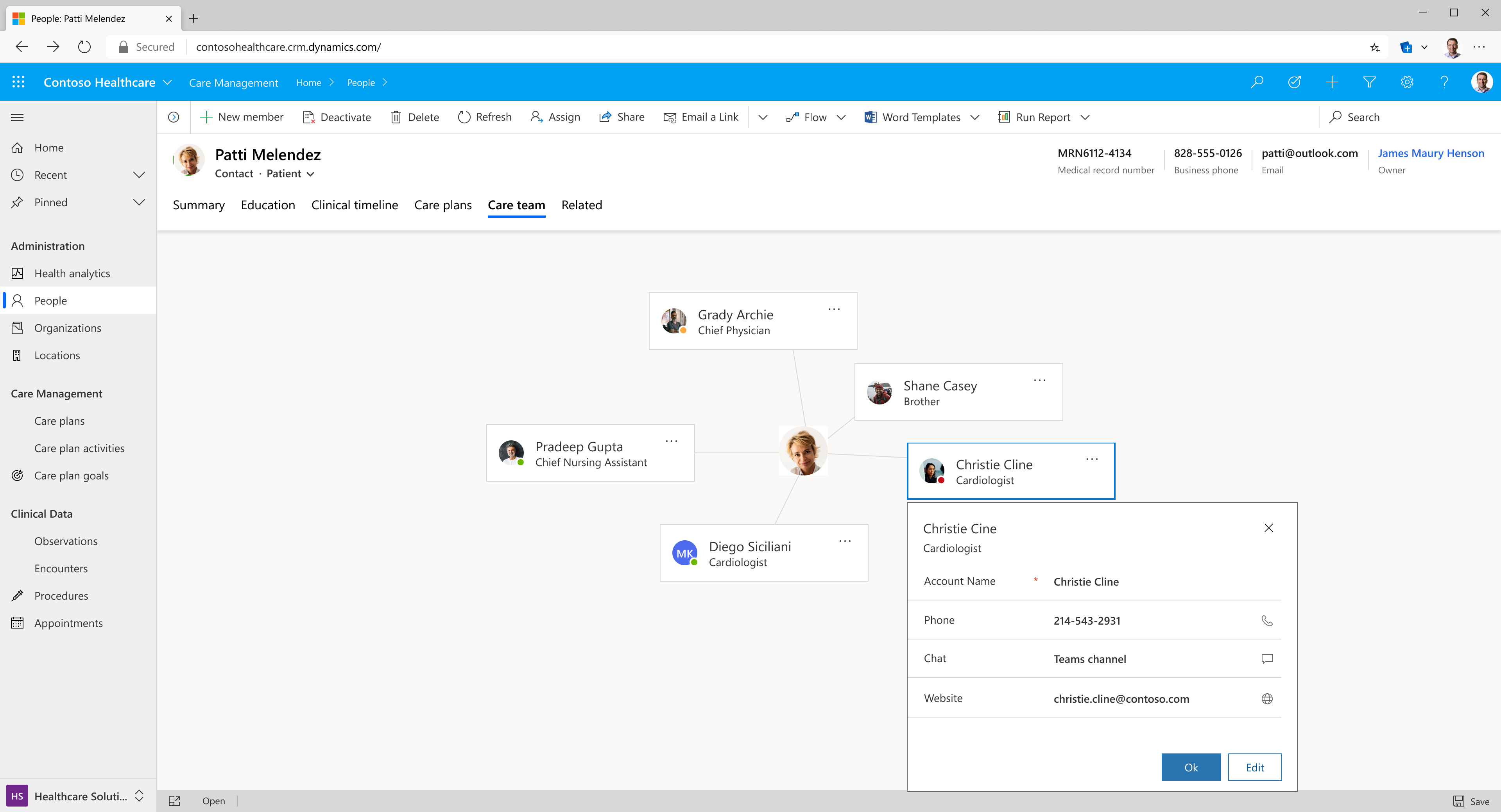 Microsoft Cloud for Healthcare Care Team View