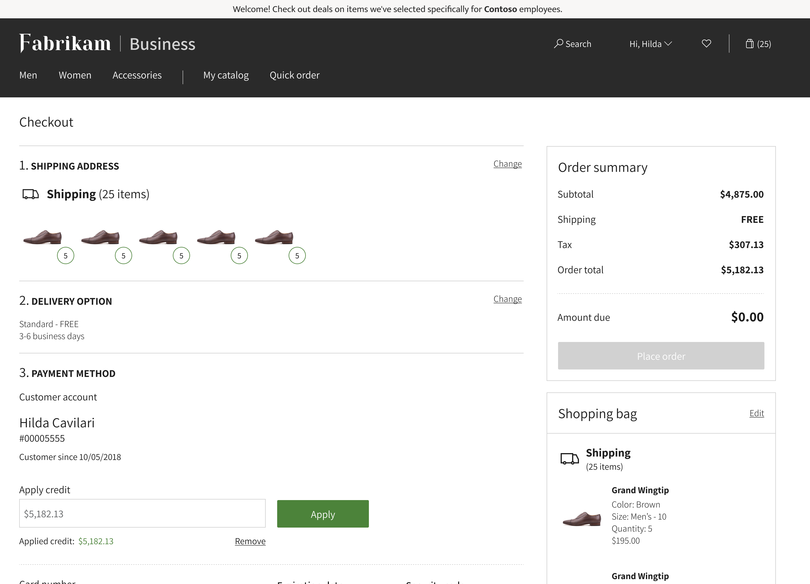 Image displaying the checkout screen for a business order including shipping details, payment method and order summary.