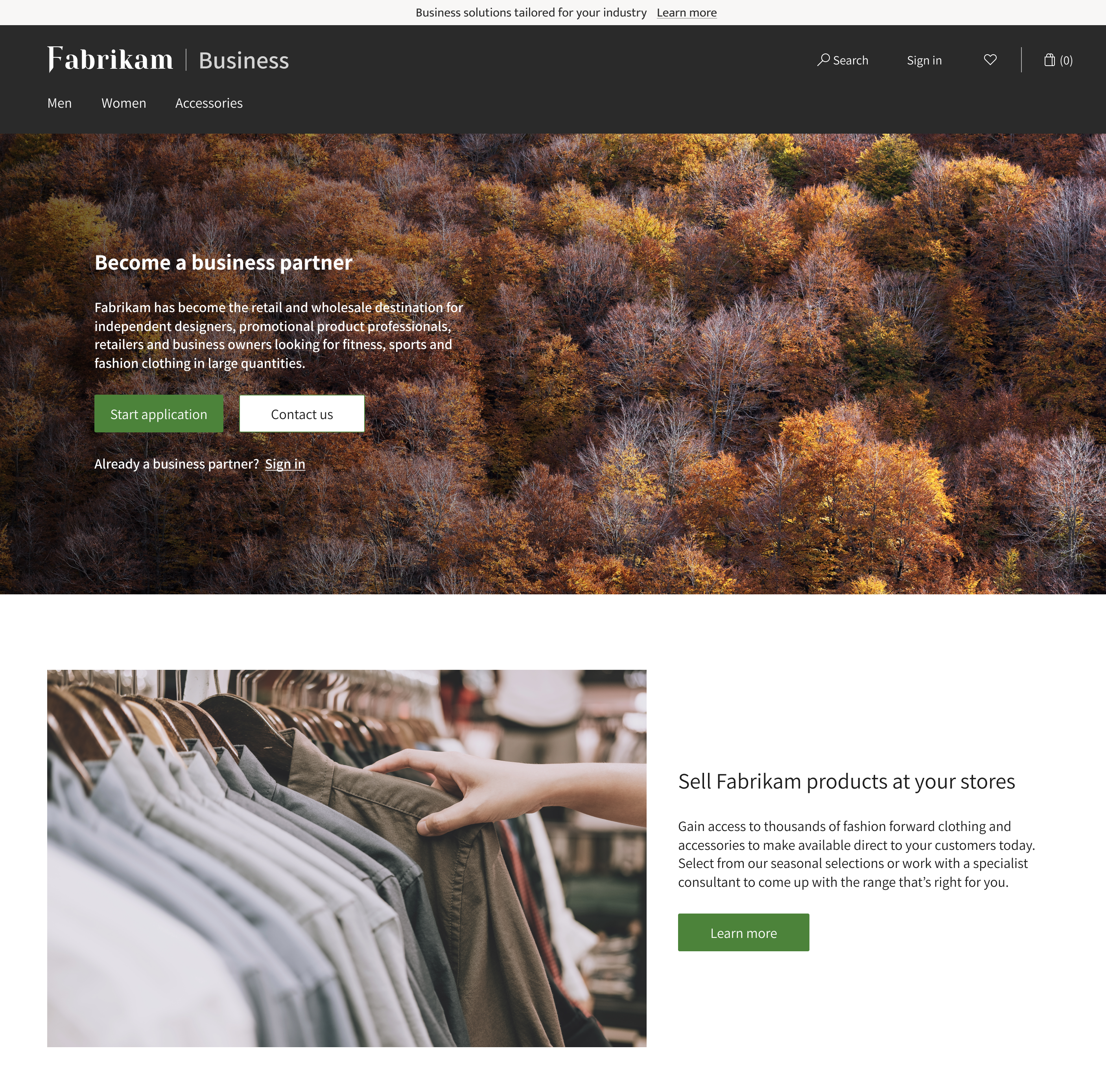 Business e-commerce home page for a company name Fabrikam with a beautiful picture of woods with words describing how to becomes a become a business partner, along with an image below it of a hand browsing through a selection of mens shirt with a title stating how businesses can sell Frabikam products in their stores