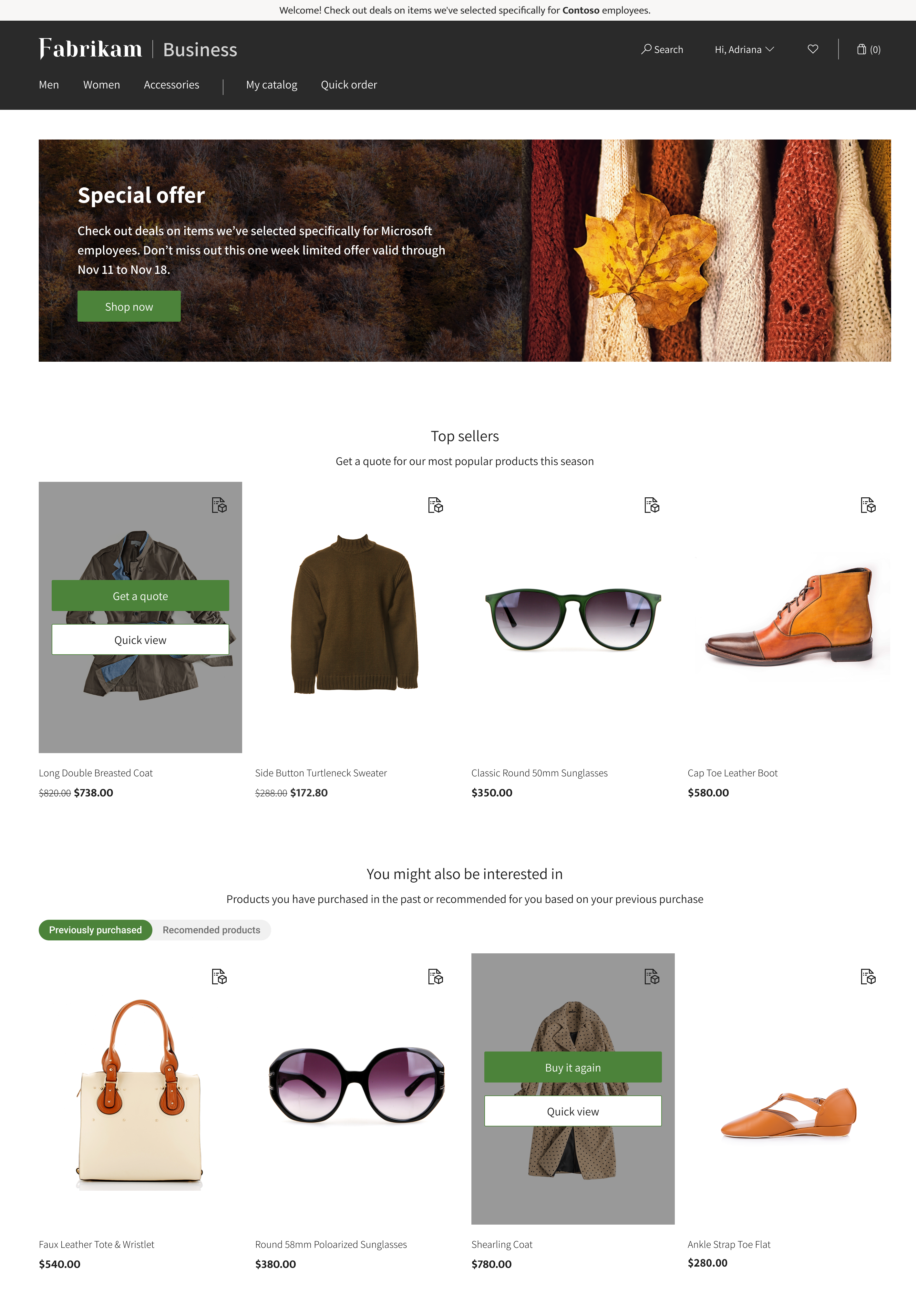 An e-commerce page with Fabrikam Business header and Special offer banner at the top. Product images are showcased with headers of