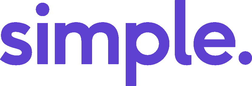 Simple company logo in purple text