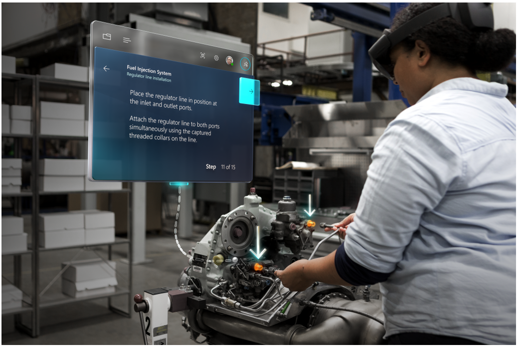 Person using Dynamics 365 Guides while working on a truck engine